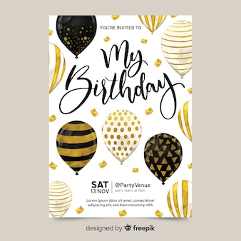 Birthday invitation with balloons