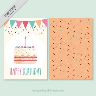 큰 케이크와 함께 생일 초대장