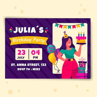 Birthday invitation with cake and presents