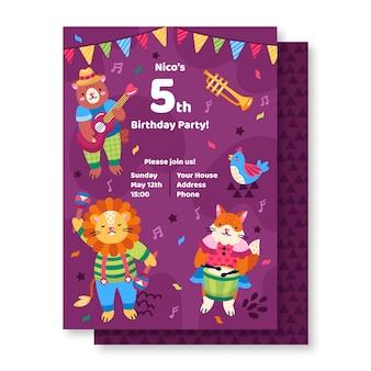 Birthday invitation with cartoon animals