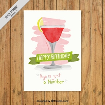 Birthday invitation with a cocktail