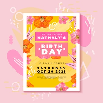 Birthday invitation with colorful flowers