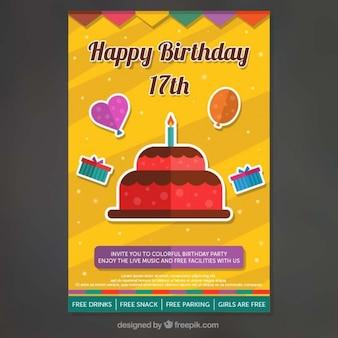 Приглашение на день рождения с декоративных элементов в плоской конструкции