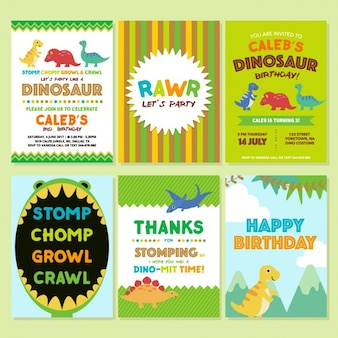 Birthday invitation with dinosaurs