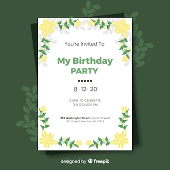 Birthday invitation with floral template