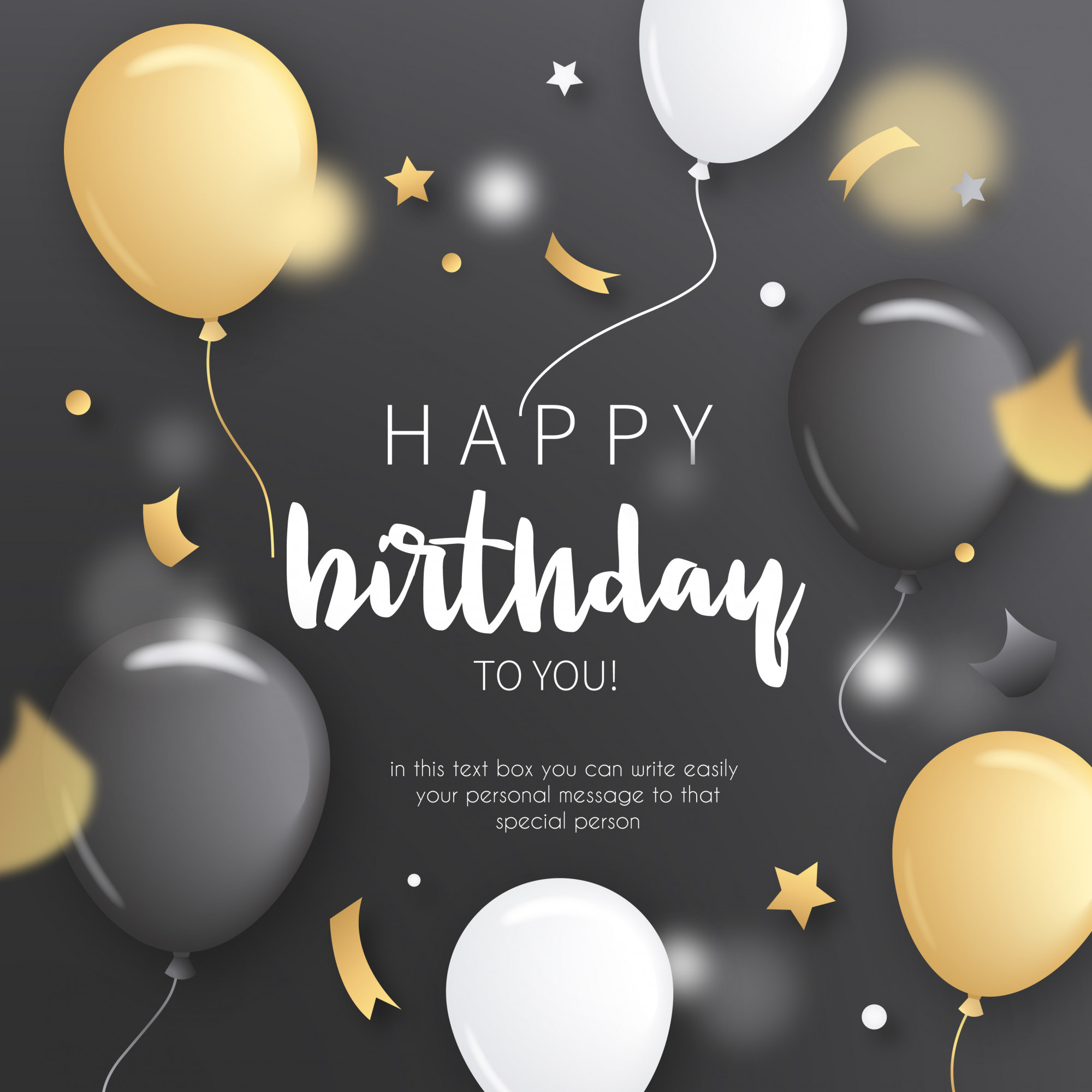 Birthday Invitation with Golden Balloons