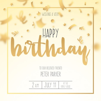 Birthday Invitation with Golden Confetti