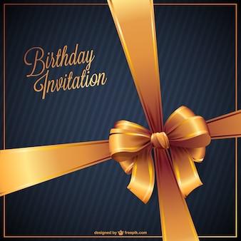 골든 리본 생일 초대장