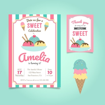 Birthday invitation with ice cream