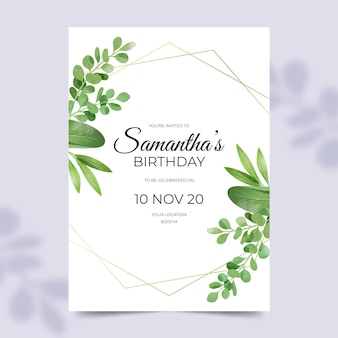 Birthday invitation with leaves ornaments