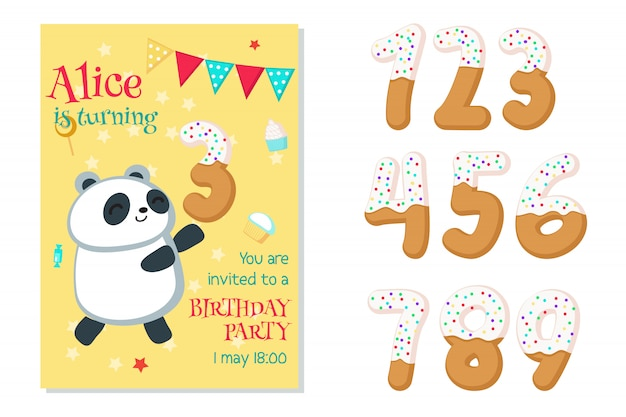Birthday invitation with panda and numbers