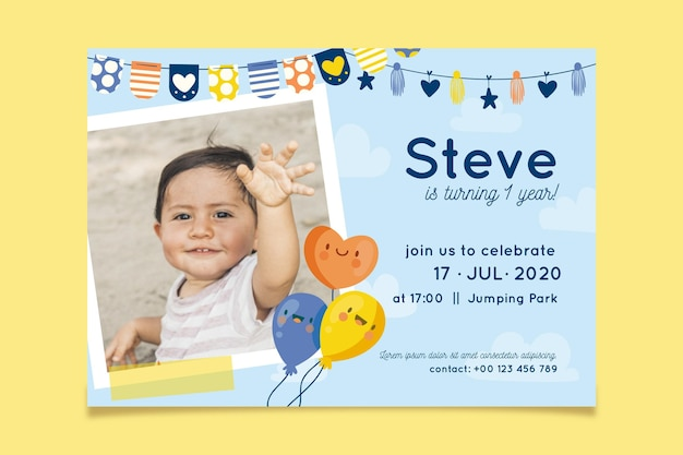 Birthday invitation with photo concept