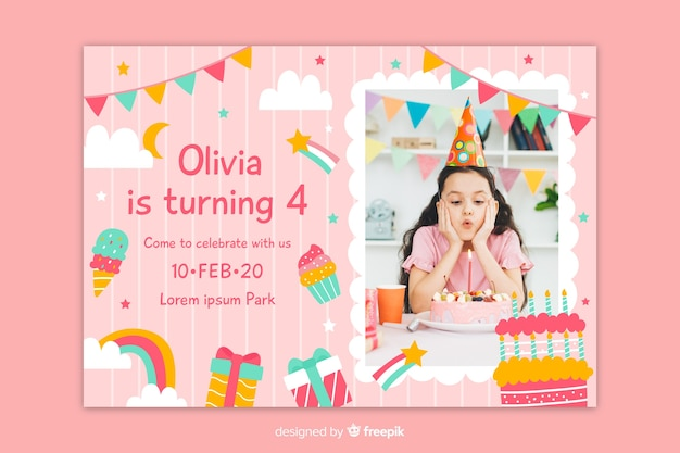 Birthday invitation with photo in a square