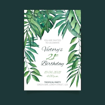 Birthday invitation with tropical leaves