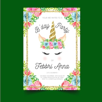 Birthday invitation with unicorn horns and flower crowns