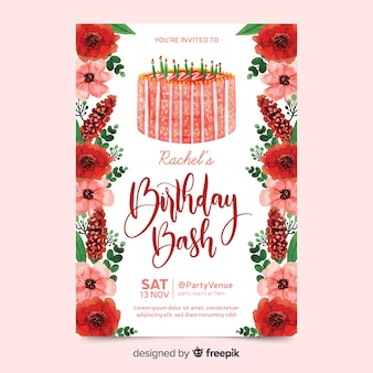 Birthday invitation with watercolour flowers