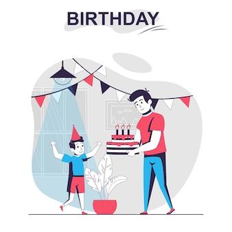Изолированные мультфильм концепция день рождения отец празднует с сыном и дарит торт со свечами
