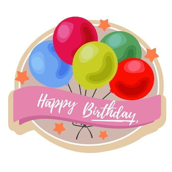Birthday label with colorful balloon