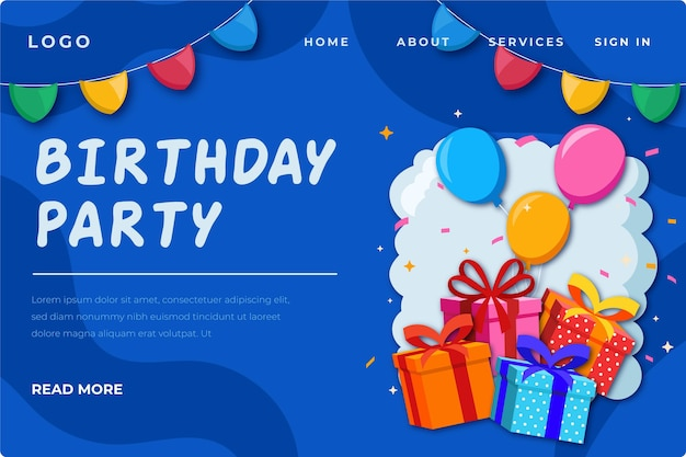 Birthday landing page template with illustrations