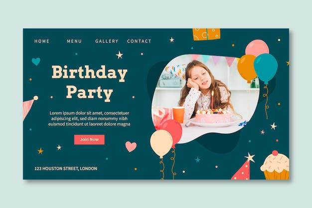 Birthday landing page template