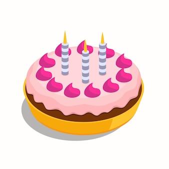 세 개의 파란색 불타는 촛불 축제 개념 달콤한 아이소메트릭 케이크와 함께 생일 큰 케이크