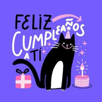 Birthday lettering cat illustration