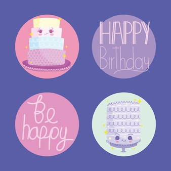 Birthday lettering icons