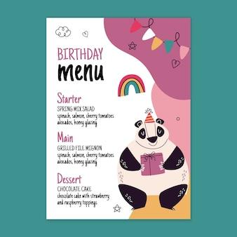 Modello di menu di compleanno con panda
