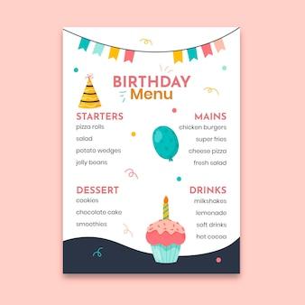 Modello di menu di compleanno