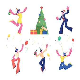 Birthday, new year and christmas celebration set.
