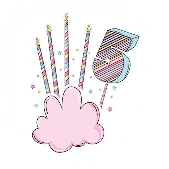 誕生日5番、雲とろうそく