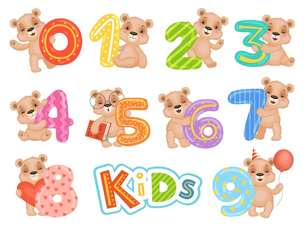 Birthday numbers bear. party fun invitation for kids celebration teddy bear characters  cartoon mascots