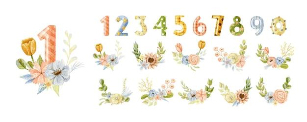 水彩風の花の花束と誕生日番号の大きなコレクション