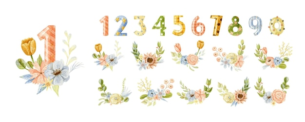 Birthday numbers big collection with floral bouquets in watercolor style