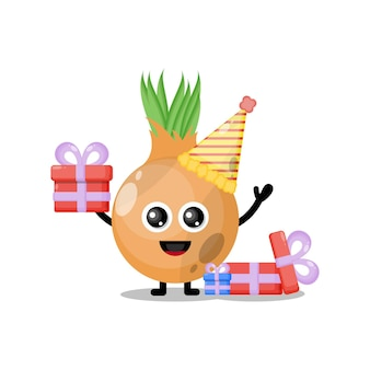 Birthday onion cute character mascot