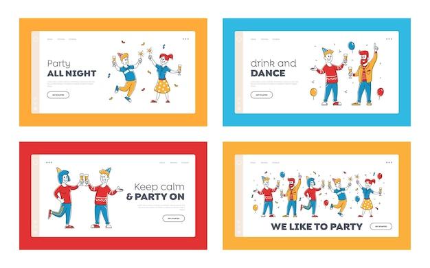 誕生日または企業のパーティーのお祝いのウェブサイトのランディングページ