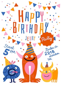 Birthday party announcement invitation poster with funny monsters in cone hats time address festive decorations illustration