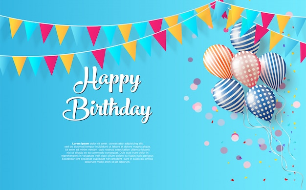 Birthday party background with black happy birthday writing