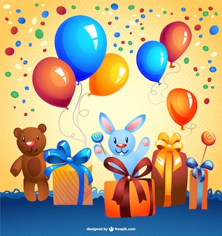 Birthday party background with presents, teddy bears and balloons