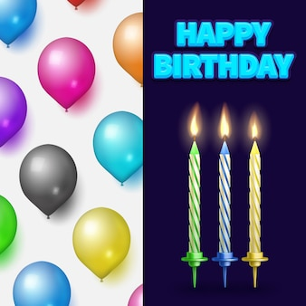 Birthday party banner or card with cake candles and balloons