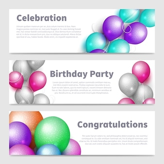 Birthday party banners with celebration realistic balloons