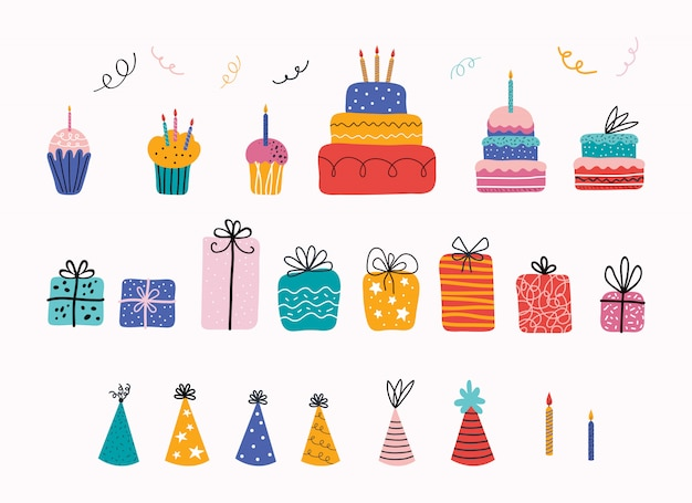 Birthday party. birthday cake, cupcake, gift, holiday hat, lettering. set of holiday elements for posters, cards, banners, invitations.
