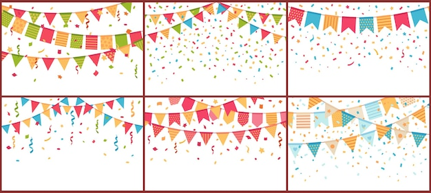 Birthday party bunting and confetti. color paper streamers, confettis explosion and buntings flags