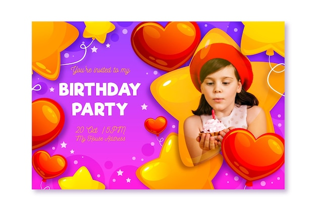 Birthday party card ready to print