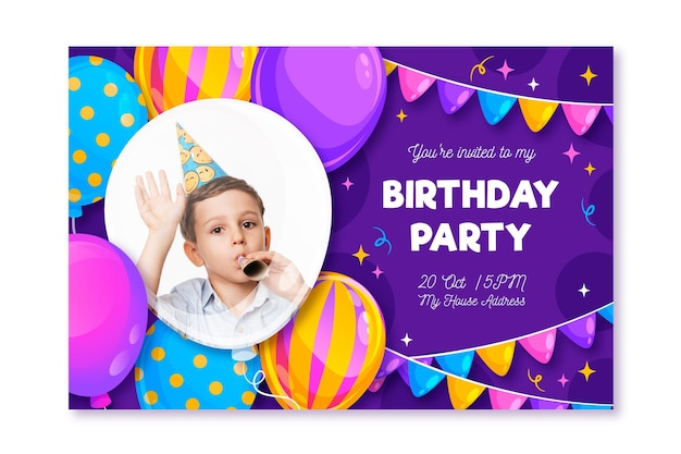 인쇄 준비가 된 생일 파티 카드