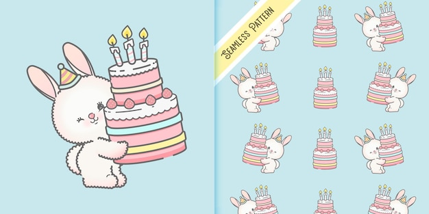 Birthday party card template and seamless pattern premium