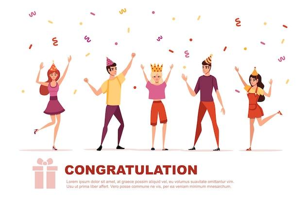 색종이와 행복한 사람들이 있는 생일 파티 카드 템플릿 만화 캐릭터 디자인