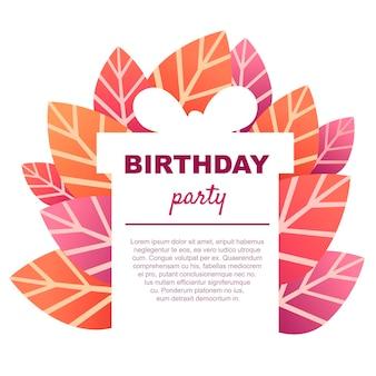 빨간 잎 평면 벡터 일러스트와 함께 생일 파티 카드 템플릿.