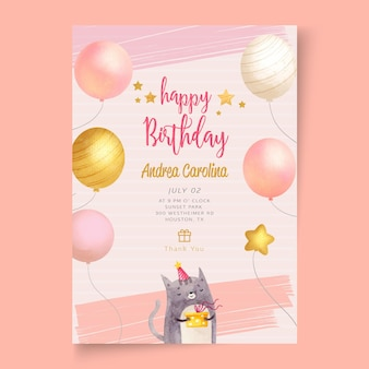 Modello di carta festa di compleanno