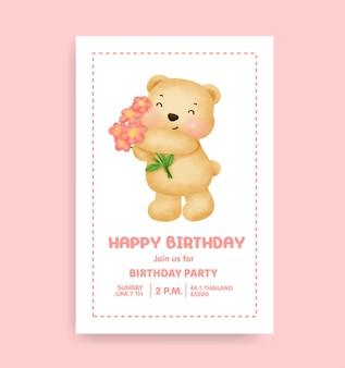 Birthday party card with cute teddy bear